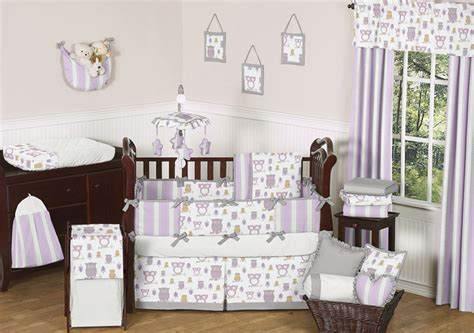 Lavender Gray Purple And White Owl Baby Girl Grey Crib Purple Owl Crib Bedding