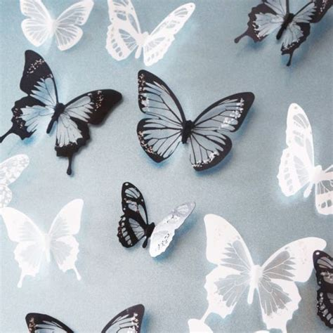 butterfly wall stickers australia 18pcs 3d black white butterfly decor wall stickers