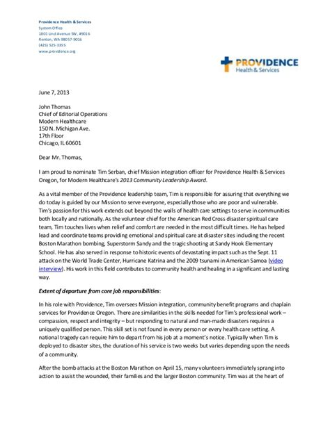 Award Nomination Letter Leadership Tim Serban Chief Mission Integration Officer Providence Health Se