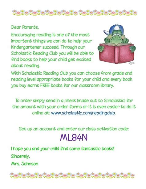 Parent Letter Scholastic Book Club Johnson Tamara Kindergarten Scholastic Book Orders
