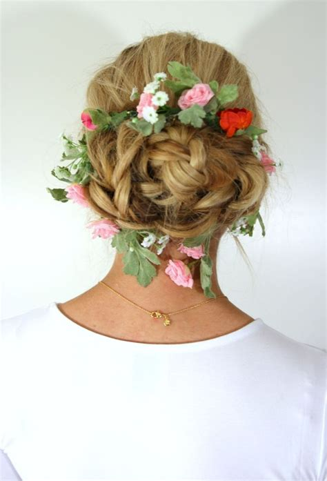 the triple braided bun with flower crown hairstyle design page 4 of 28 best images on pinterest wedding hair styles wedding