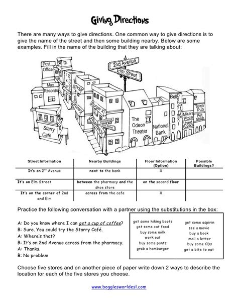 giving directions printable exercises giving directions worksheet images