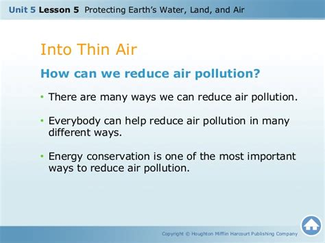 Ways To Avoid Air Quality U5 L5 Protecting Earth S Water Land Air