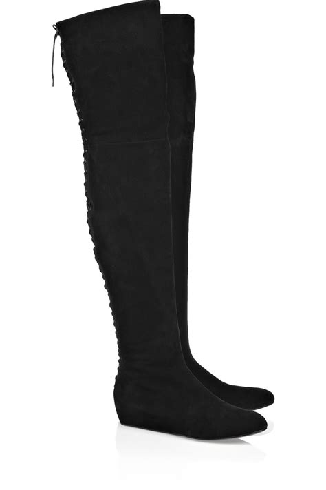 suede high boots ala 239 a lace up thigh high suede boots in black lyst