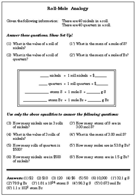 chemistry the mole worksheet analogies