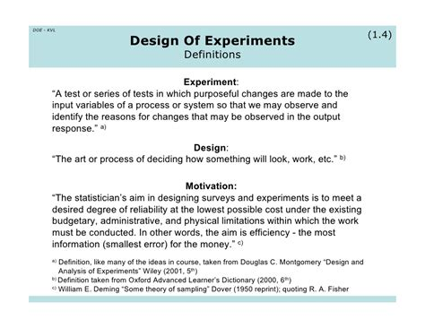 design of experiments doe design of experiments a 3 day reminder