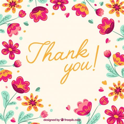 thank you background retro thank you background with flowers vector