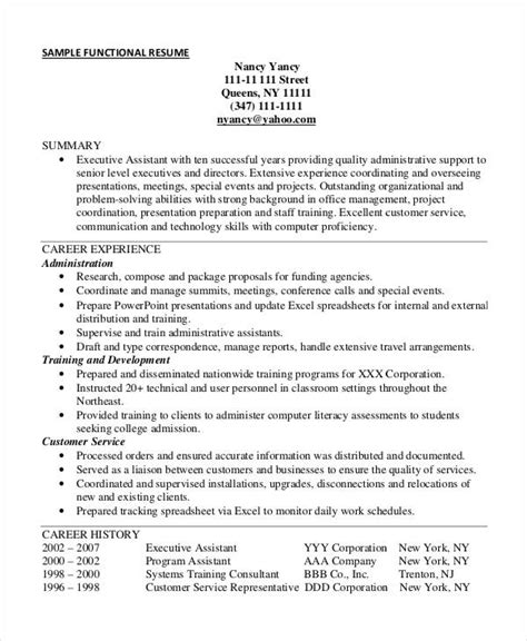 functional resume exle sle functional resume executive assistant excel homework