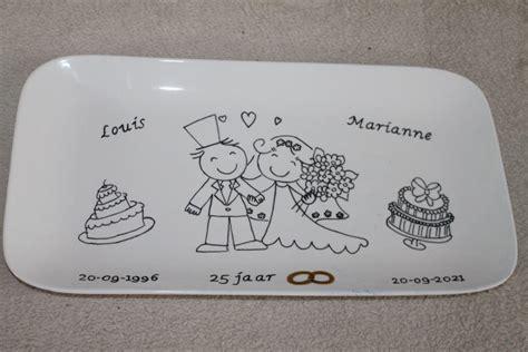 25 jaar getrouwd sieraden handgeschlderd bord 25 jaar getrouwd