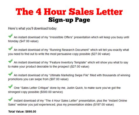 justin quick marketing 4 hour sales letter