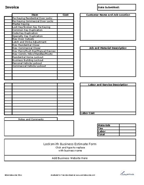 locksmith business invoice locksmith invoice template free rabitah net