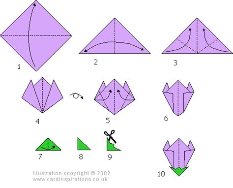 Origami Flowers Diagrams - easy origami flower step by step tutorial