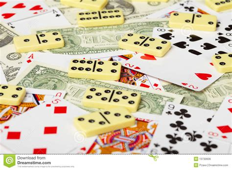 Dominoes Gift Card - playing cards dominoes and money royalty free stock image image 13730606
