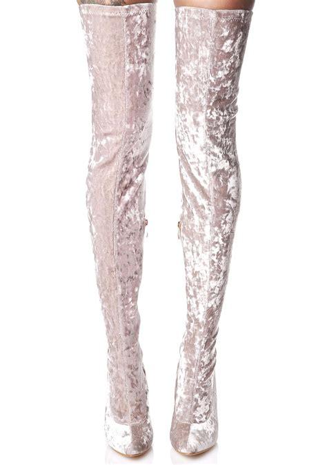 grey velvet thigh high boot dolls kill