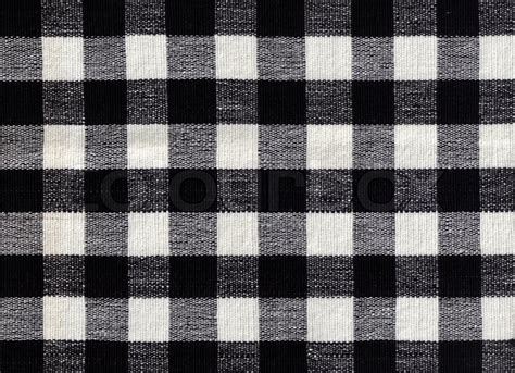 black and white check upholstery fabric black and white checked fabric background stock photo