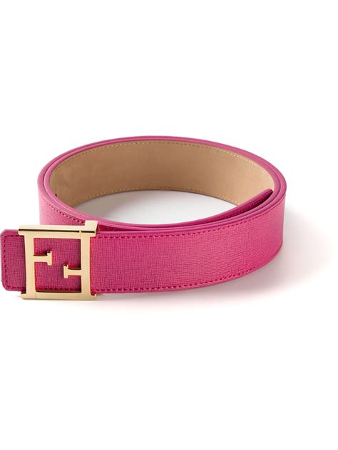 lyst fendi ff logo belt in pink