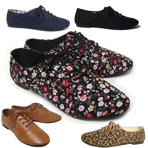 new womens lace up casual canvas flat heel oxford shoes flats black blue leopard ebay