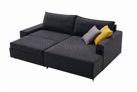 Sectional Sofa With Bed Charcoal Grey Fabric Modern Sectional Sofa Bed W Metal Legs