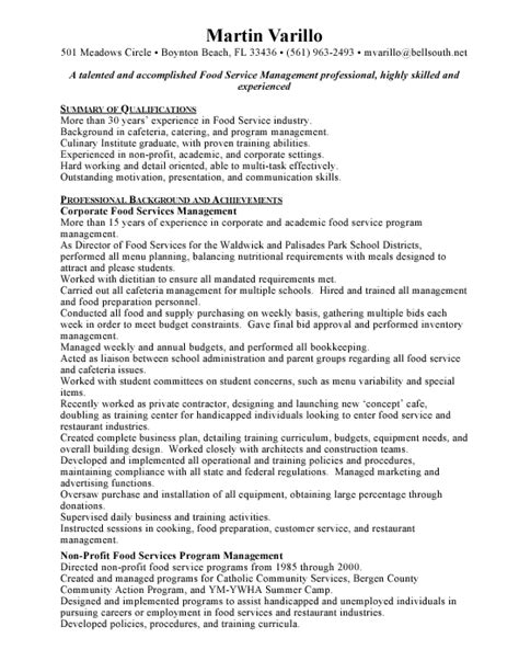 resume sles for food service manager food services manager free resumes