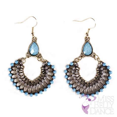 belly half circle stoned earrings leaflet