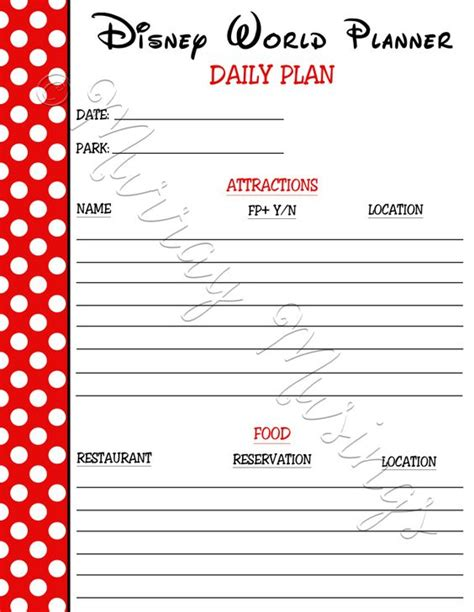 printable daily vacation planner disney disney worlds and planners on pinterest