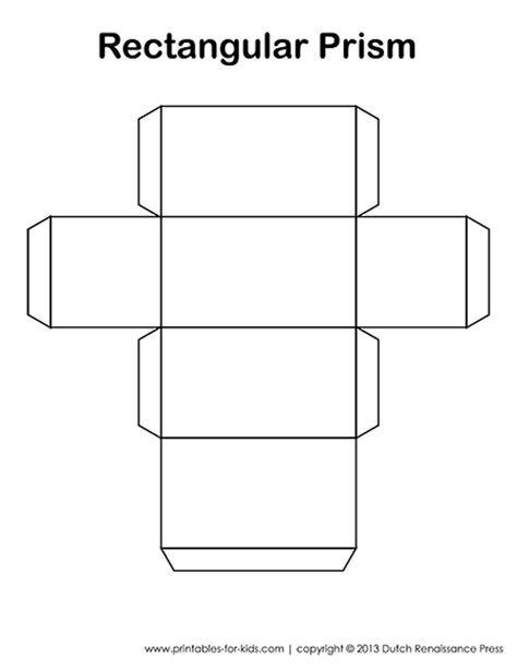 printable surface area nets rectangular prism template