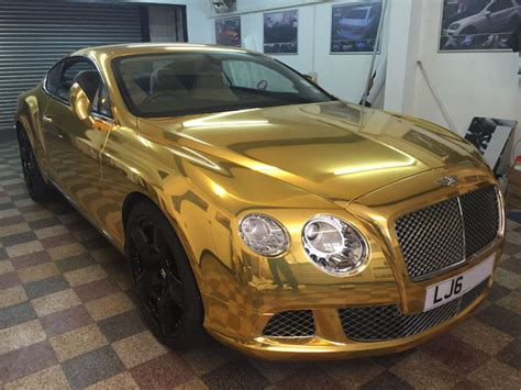 gold chrome bentley bentley gt chrome gold wrapping cars