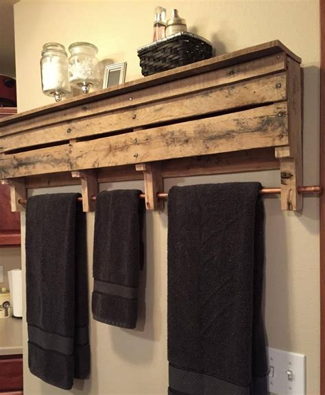 Rustic Pallet Wood Furniture Towel Rack Bathroom Shelf Bathroom Towel Racks Shelves