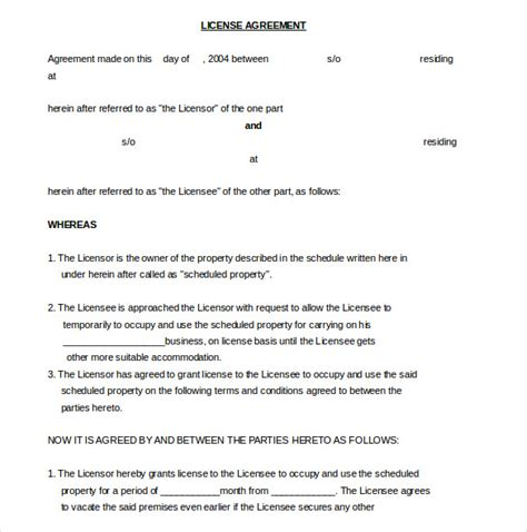 licensing agreement template 13 license agreement templates free sle exle