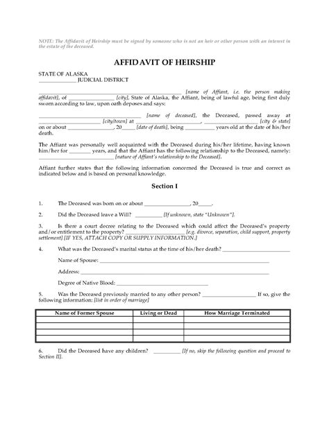 Alaska Affidavit Of Heirship Legal Forms And Business Templates Megadox Com Affidavit Of Heirship Template
