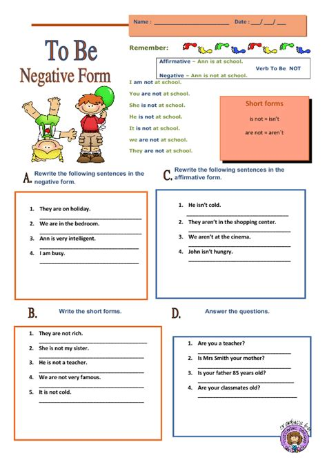 verb to be worksheets verb to be negative form