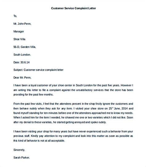 template complaint letter for poor service complaint letter template