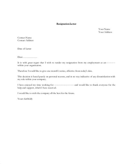 standard resignation letter template gallery of standard resignation letter template