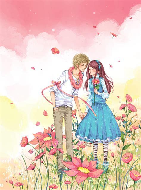 wallpaper couple pink daisy artist image 218284 zerochan anime image board
