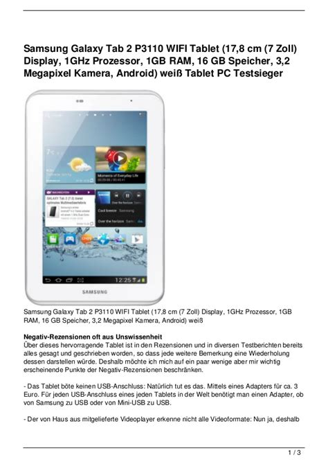 Samsung Tab Kamera Depan samsung galaxy tab 2 p3110 wifi tablet 17 8 cm 7 zoll