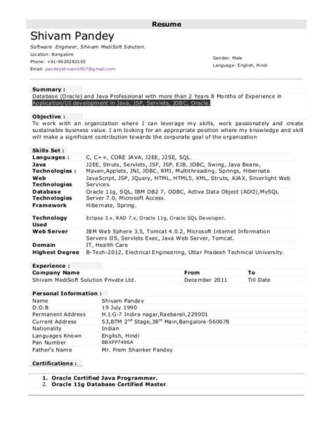 4 years experience resume format sle java resumes www sanitizeuv sle resume and templates