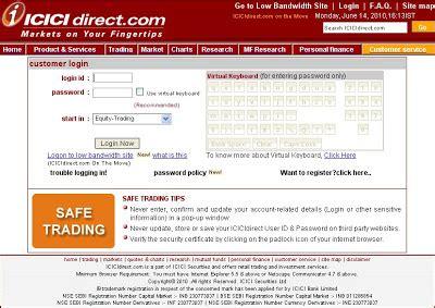 icici bank login india on icici direct login trading at