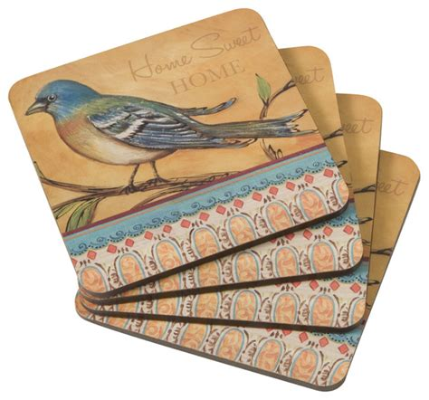 Decorative Coasters For Drinks cork backed decorative drink coasters set of 4