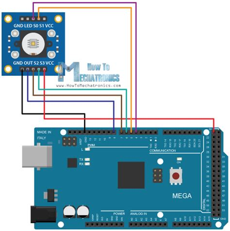 connect the colors arduino color sensing tutorial tsc230 tsc3200 color sensor