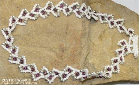 Choker Ring Tie Cinnamon vine choker white purple and silver rustic