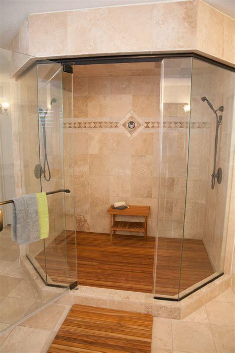 Small Bathroom Floor Mats Wooden Shower Bench View In Gallery Simple But Large