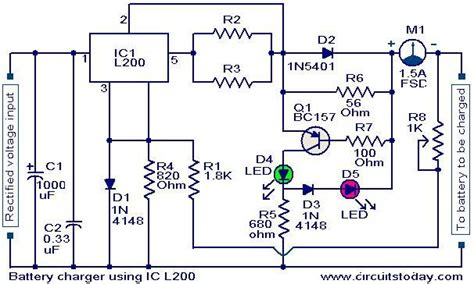 battery charger circuit using l200 electronic circuits