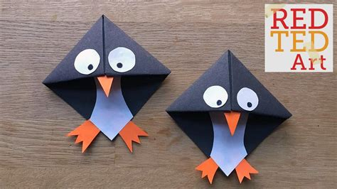arts and crafts out of paper easy paper penguin corner bookmark crafts