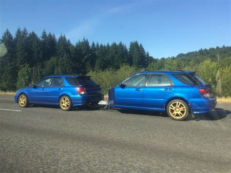 Subaru Impreza Wrx Uses A Second Chopped Wrx As A Trailer