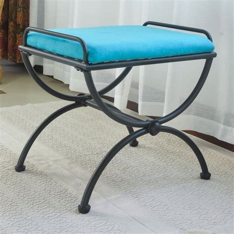 iron benches indoor indoor iron vanity bench in aqua blue 3407 ms ab