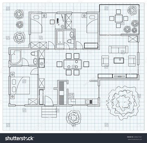 black white floor plan sketch house stock vector 246621421