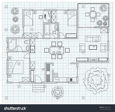 sketch floorplan black white floor plan sketch house stock vector 246621421