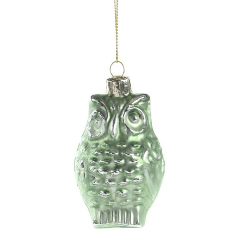 mint green mercury glass owl ornament christmas