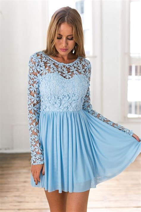 light blue sleeve dress light blue sleeve crochet tulle skater dress ustrendy