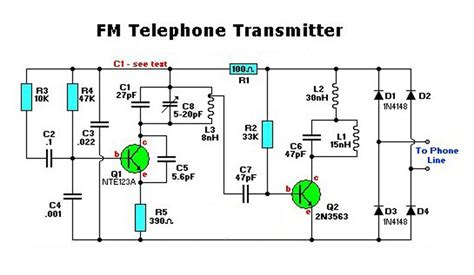 electronic diagrams and schematics electronic fm telephone transmitter circuit electronic
